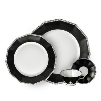 Nymphenburg Black Platinum Pearl Dinnerware Fine Porcelain