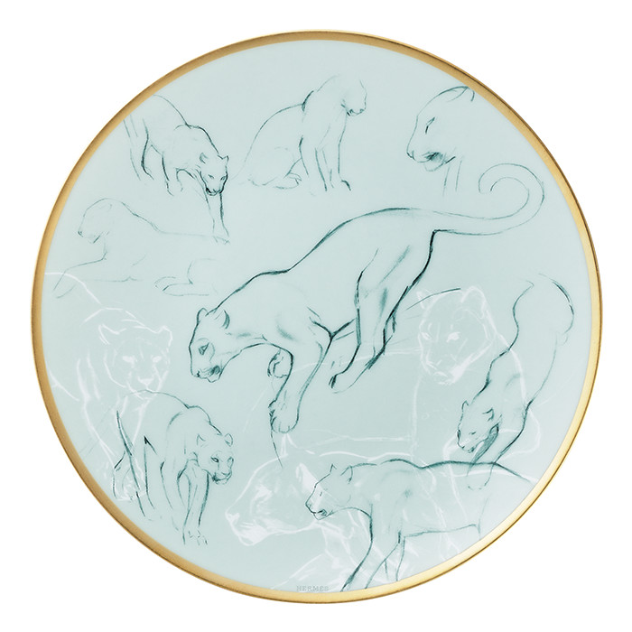 Hermes Carnets d'Equateur Felines Bread and Butter Plate