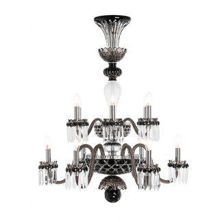 Saint-Louis Crystal Arlequin 12-Light Chandelier Colored