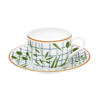 Hermes A Walk in the Garden Tea Cup and Saucer Green