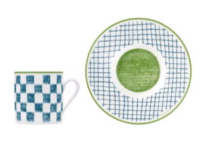 Hermes A Walk in the Garden Coffee Cup and Saucer Blue