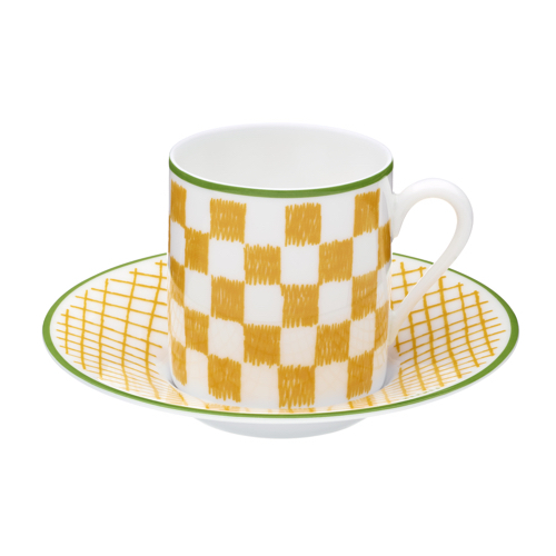 Hermes A Walk in the Garden Coffee Cup and Saucer Yellow