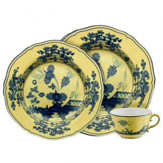 Richard Ginori Oriente Italiano Citrino Yellow Navy Luxury Dinnerware