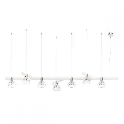 Saint-Louis Folia Seven-light Chandelier Linear White Ash Suspension