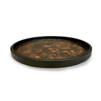 Michaël Verheyden Circle L Round Tray in Leather with Patinated Copper Center