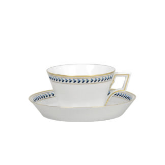 Augarten Old Viennese Blue Tea Cup and Saucer