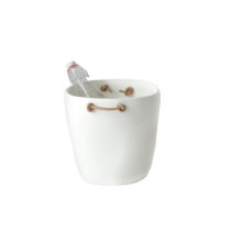 TF Design Barware Champagne Bucket with Leather Handles White
